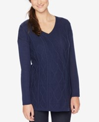 Motherhood Maternity Textured V Neck Sweater Navy