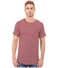 Rustic Dime Striped Long Tee Red Men's T Shirt