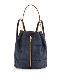 Elizabeth And James Cynnie Woven Drawstring Backpack Indigo