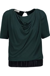 Vionnet Draped Stretch Crepe Top Emerald