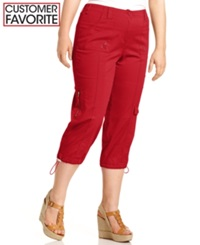 Style And Co. Plus Size Cargo Capri Pants New Red Amore