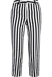 Topshop Unique Harleyford Striped Cotton Blend Slim Leg Pants Black White