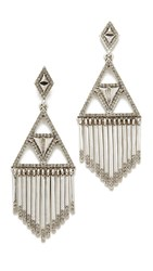 House Of Harlow Golden Hour Fringe Earrings Silver