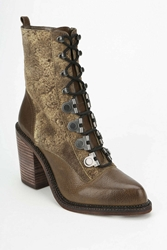 Luxury Rebel Mara Lace Up Heeled Boot Khaki