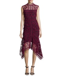 Rachel Gilbert Mock Neck Lace Asymmetric Dress Burgundy
