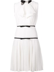 Giambattista Valli Bow Detail Pleated Dress White