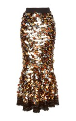 Dolce And Gabbana Sequin Paillette Skirt Brown Silver Gold