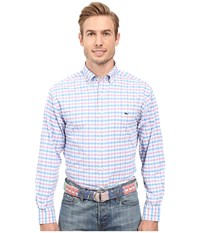 Vineyard Vines Spincast Gingham Classic Tucker Shirt Bahama Breeze Men's Long Sleeve Button Up Pink