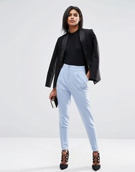 Asos Tailored High Waisted Trousers With Turn Up Detail Powder Blue