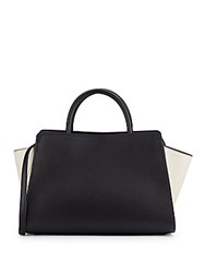 Zac Posen Two Tone Leather Satchel Black White