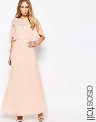 Asos Tall Embellished Flutter Sleeve Maxi Dress Nude