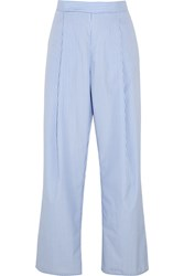 Georgia Alice Perret Striped Cotton Wide Leg Pants Blue