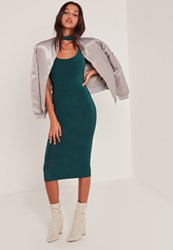 Missguided Blue Slinky Choker Detail Strappy Back Midi Dress Teal