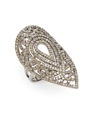Bavna 2.19 Tcw Champagne Diamond And Sterling Silver Teardrop Ring