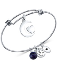 Unwritten Love You To The Moon And Back Charm And Sodalite 8Mm Bangle Bracelet In Stainless Steel