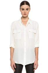 Equipment Signature Silk Blouse In White