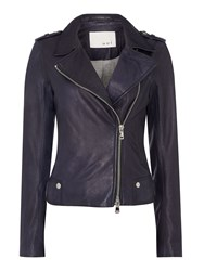 Oui Leather Jacket Navy