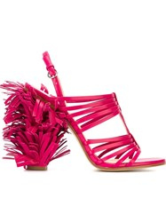 Moschino Fringed Sandals Pink And Purple