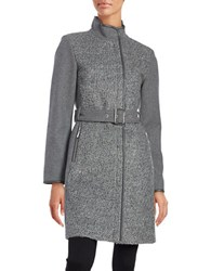 Vince Camuto Wool Blend Zip Front Belted Coat Grey