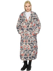 Y's Floral Printed Brushed Wool Coat