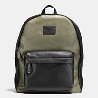 Coach Campus Backpack In Colorblock Refined Pebble Leather Black Antique Nickel Surplus Black