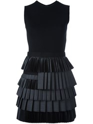 Dsquared2 Tiered Pleated Dress Black
