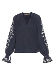Bliss And Mischief Bandana Peasant Blouse Navy