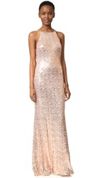 Badgley Mischka Collection Cowl Back Sequin Gown Blush