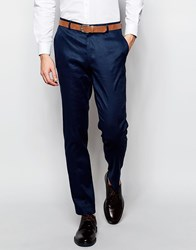 Asos Skinny Suit Trousers In Linen Mix Navy