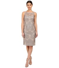 Adrianna Papell Sequin Embroidered Lace Sheath Dress Mink Women's Dress Brown
