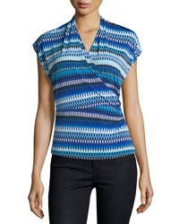 Laundry By Shelli Segal Printed Shirred Wrap Tee Blue
