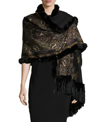 Gorski Reversible Cashmere Fur Trim Shawl Black