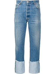 Re Done Cuffed Cropped Jeans Blue