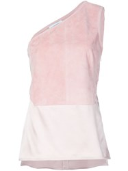 Kaufman Franco Kaufmanfranco One Shoulder Panelled Top Pink And Purple
