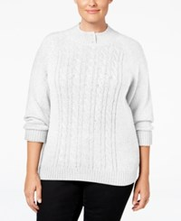 Karen Scott Plus Size Cable Knit Mock Neck Sweater Only At Macy's Winter White
