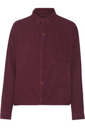 Current Elliott The Boxy Cropped Cotton Shirt Burgundy