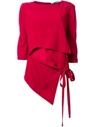 Chalayan Asymmetric Side Tie Top Red