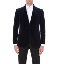 Gieves And Hawkes Regular Fit Cotton Velvet Jacket Navy