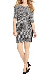 Plus Size Women's Lauren Ralph Lauren Side Pleat Houndstooth Print Jersey Sheath Dress