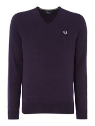 Fred Perry Men's Classic V Neck Pull Over Sweater Dark Purple