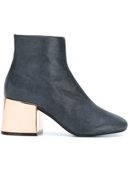 Maison Martin Margiela Mm6 Metallic Heel Boots Blue