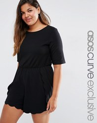 Asos Curve T Shirt Playsuit With Scallop Hem Black
