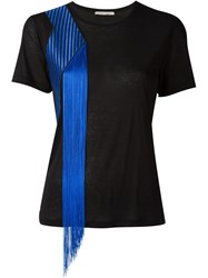 Christopher Kane Embroidered Fringed T Shirt Black