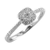 Ewa 18Ct White Gold Diamond Cluster Ring White