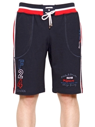 Paul And Shark Embroidered Cotton Fleece Shorts Navy