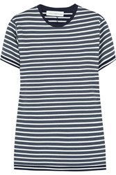Victoria Beckham Striped Stretch Jersey T Shirt Blue