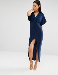 Club L Slinky Maxi Dress With Knot Front Navy