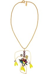 Vickisarge Birds Of Paradise Gold Plated Crystal Necklace