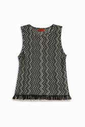 Missoni Women S Zigzag Snake Fringed Top Boutique1 Black
