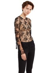 Ms Min Long Sleeve Lace Blouse Black Lace